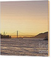 San Francisco Harbor Golden Gate Bridge At Sunset Wood Print by Artist and Photographer Laura Wrede