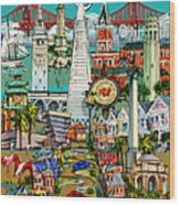 San Francisco Illustration Wood Print
