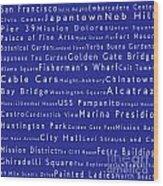 San Francisco In Words Blue Wood Print