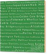 San Francisco In Words Green Wood Print