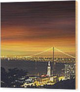 San Francisco Oakland Bay Bridge At Sunset Wood Print