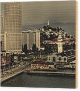 San Francisco Pier From The Bridge Wood Print