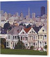 San Francisco Skyline From Alamo Square Wood Print