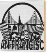 San Francisco Skyline Golden Gate Bridge Black And White Illustr Wood Print