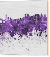 San Francisco Skyline In Purple Watercolor On White Background Wood Print