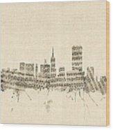 San Francisco Skyline Sheet Music Cityscape Wood Print