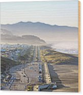 San Francisco Morning - The Great Highway Ocean Beach Wood Print