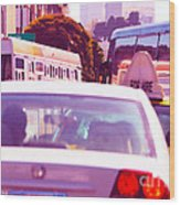 San Francisco Traffic Jam Wood Print by Artist and Photographer Laura Wrede