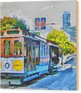 San Francisco Trams 4 Wood Print by Yury Malkov