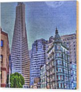 San Francisco Transamerica Pyramid And Columbus Tower View From North Beach Wood Print
