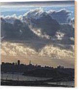 San Francisco Under Fogbank At Sunset Wood Print