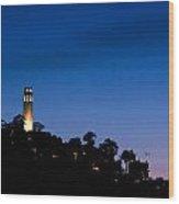 San Francisco's Coit Tower At Night Wood Print