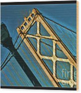 San Francisico Bay Bridge And Light Wood Print