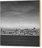 San Fransisco Cityscape Black And White Panorama Wood Print