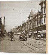 94-095-0001 Early Knox Automobile First Street San Jose California Circa 1905 Wood Print