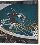 San Jose Sharks Christmas Wood Print