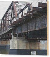 San Lorenzo River Train Bridge At Santa Cruz Beach Boardwalk California 5d23609 Wood Print
