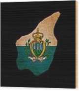 San Marino Grunge Map Outline With Flag Wood Print