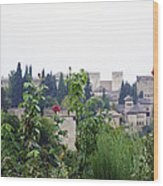 San Nicolas View Of The Alhambra On A Rainy Day - Granada - Spain - Spain Wood Print