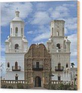 San Xavier Del Bac Mission Facade Wood Print