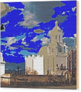 San Xavier Mission Brooding Clouds Post Card Ray Manley  Photo No Date-2013  Wood Print