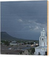 San Xavier Mission With Lightning Wood Print