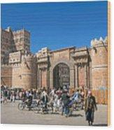 Sanaa Old Town Busy Street In Yemen Wood Print