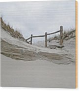 Sand Dune And Fence Wood Print