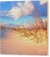 Sand Dune And Sea Oats At Sunset Wood Print