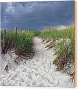 Sand Dune Under Storm Wood Print by Olivier Le Queinec