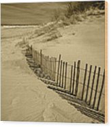 Sand Dunes And Fence Wood Print