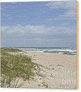 Sand Dunes And The Sea Wood Print