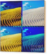 Sand Dunes Collage Wood Print