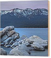 Sand Harbor Rocks Wood Print
