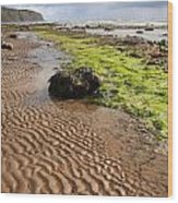 Sand Patterns On Robin Hoods Bay Beach Wood Print