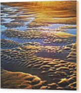Sand Textures At Sunset Wood Print