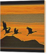 Sandhill Crane At Sunset Wood Print