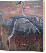Sandhill Cranes Wood Print by Susan Hanlon