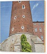 Sandomierska Tower Of Wawel Castle In Krakow Wood Print