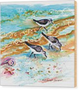 Sandpiper Trio Wood Print
