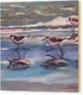 Sandpipers Running In Beach Shade 3-10-15 Wood Print