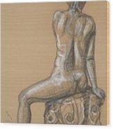 Sandra  -back Nude Wood Print