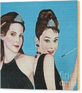 Sandra Bullock And Audrey Hepburn Wood Print