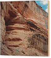 Sandstone Cliff In Canyon De Chelly 1993 Wood Print by Connie Fox