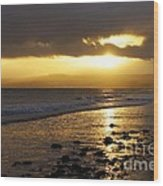 Sandy Bay At Dusk Wood Print