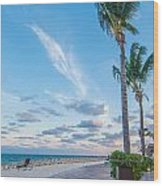 Sandy Beach And Beautiful Clouds  Wood Print
