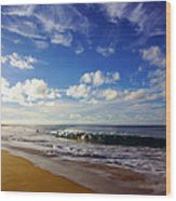 Sandy Beach Morning Rainbow Wood Print