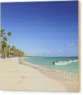 Sandy Beach On Caribbean Resort  Wood Print