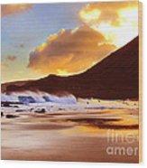 Sandy Beach Sunset Wood Print