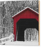 Sandy Creek Cover Bridge With A Touch Of Red Wood Print